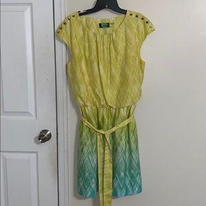 Greenish yellow and blue dress